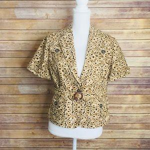 Banana Republic Print Short Sleeves Jacket w/ belt
